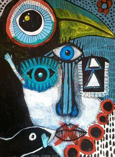 Look & Listen ~ original painting - outsider art - primitive - naive - contemporary folk art - mixed media - art brut Kunst Inspo, Art Inspo, Outsider Art, Art And Illustration, Original Art, Original Paintings, Art Paintings, Abstract Face Art, Art Visage