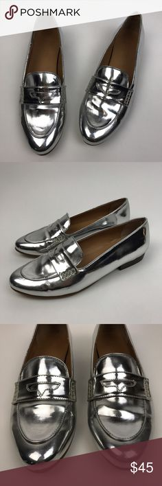 """[J Crew Factory] Metallic Stacked Heel Loafers 8 Chic silver metallic Loafers. Slip on style. Stacked heel. Rubber sole. Style E1343  🔹Heel Height: 0.75"""" 🔹Condition: Good pre-owned condition. Some signs of wear on soles. Heels are in excellent condition. J. Crew Shoes Flats & Loafers"""