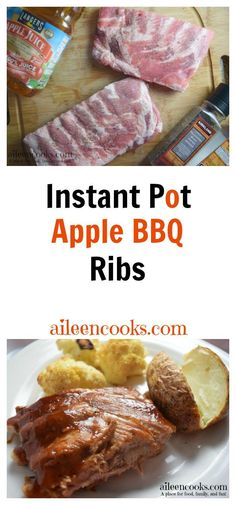 Make tender and flavorful instant apple barbeque ribs in under an hour with this 5 ingredient recipe. Pressure Cooker Apple BBQ Ribs recipe from aileencooks.com.