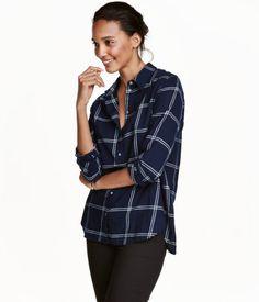 Flannel Shirt | Dark blue/checked | Ladies | H&M US