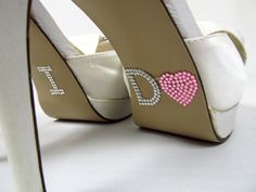 Pink Rhinestone Heart I Do Shoe Stickers - Wedding Shoe Stickers $7.99 - I NEED THESE