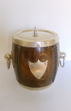 Vintage 1930s oak and silver barrel-shaped ice bucket/biscuit barrel/cookie jar…