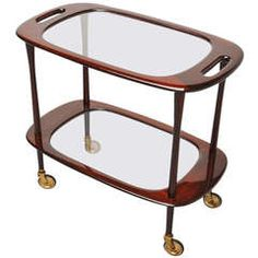 Cesare Lacca Bi-Level Bar Cart, Italy, 1950   From a unique collection of antique and modern bar carts at https://www.1stdibs.com/furniture/tables/bar-carts/
