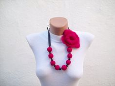 Felted Flower   Necklace Pink  Winter Accessories Fall by nurlu
