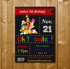 Mickey and Friends Invitation Disney Party by KidsPartySuppliesPL
