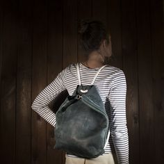 Your place to buy and sell all things handmade Tote Backpack, Shopper Tote, Leather Backpack, Tote Bag, Minimalist Bag, Minimalist Fashion, Wide Leather Belt, Leather Bag, Green Backpacks