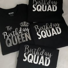 The Birthday Queen Girl Squad Crew Party Shirts Glitter Birthday Girl Queen Squad Handmade Custom Birthday T-shirt Shirt Birthday by on Etsy queen This item is unavailable 13th Birthday Parties, Birthday Party For Teens, 17th Birthday, 50th Birthday Ideas For Women, Birthday Crafts, Birthday Presents, Birthday Gifts For Best Friend, Best Friend Gifts, Queen Birthday