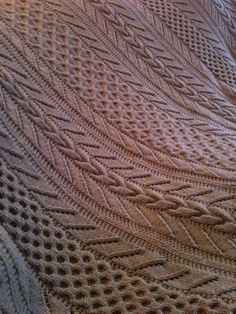 Free Knitting Pattern for Cable and Lace Afghan - Ann V. Gallentine's Boys Afghan is knit in 7 strips and seamed. Pictured project by melanise83