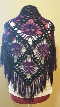 Skull Shawl - Purple & Black by TighthookerCrochet on Etsy