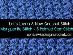 Oombawka Design: Star Stitch (5 Pointed Star) / Marguerite Stitch. Crochet Tutorial with 8 inch Afghan Block Pattern.