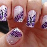 butterfly sticker nail art design ideas #prom nail art