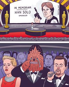 It's going to be a sad #Oscars for Chewie. (by @lukeymcgarry) #starwars #hansolo #inmemoriam #academyawards #chewbacca #sadchewie by superdeluxe