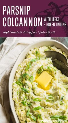 This fluffy parsnip Colcannon is a fun, nightshade free take on the classic recipe. Here, it's lighter, brighter & more spring-y, with leeks & green onions! Paleo Side Dishes, Vegan Dishes, Tasty Dishes, Vegan Cauliflower, Mashed Cauliflower, Vegetable Dishes, Vegetable Recipes, Mashed Parsnips, Irish Stew
