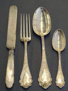 """American sterling silver flatware service by Wood & Hughes """"Murillo"""" pattern 1875"""