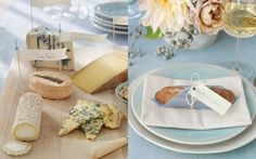 Bread and Cheese with labels of varieties on every table - this would keep heavy traffic around the REAL food down to a minimum at the beginning of the reception, and give more things for people to do while waiting for the wedding party!