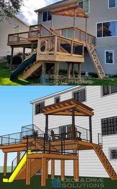 New Cedar Deck with Slide and Rock Wall Deck Slide, Cedar Deck, Deck Builders, Cool Deck, Deck Decorating, New Deck, Backyard Playground, Deck Plans, Building A Deck
