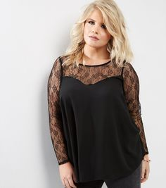 Curves Black Lace Panel Long Sleeve Top | New Look