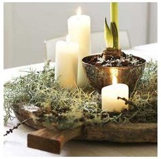 Charming tabletop vignette....I use flameless candles now.