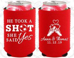 He Took a Shot, She Said Yes, Neoprene Wedding, Soccer Wedding, Sports Wedding, Neoprene Wedding Favors (322)