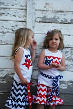 Chevron print Fourth of July outfits for girls.