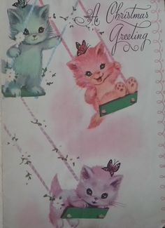 LOVE this vintage kittens christmas card