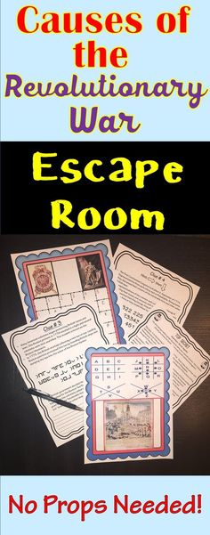 The Causes of the Revolutionary War Escape Room will take students on a secret mission around the classroom! This escape room has students decode interesting facts and causes of the American Revolution. NO PROPS NEEDED! 4th Grade Social Studies, Social Studies Classroom, Social Studies Activities, History Classroom, Teaching Social Studies, History Teachers, History Activities, History Education, Escape Room