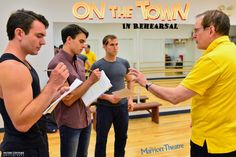 This trio of sailors, including Max Clayton, Seth Danner and Jeff Smith, are going to amaze you! Wait'll you see them out ON THE TOWN! Here they are in rehearsal with multi Jeff-Award winning Director David H. Bell. The Marriott Theatre, Chicago.