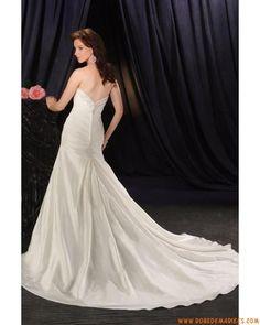 Robe de mariée trompette pas cher en satin applique perlé