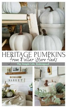 Turn easy to find dollar or craft store pumpkins into trending heirloom gourds with ease. Farmhouse | Pumpkins | Painted | Fall Decor | Autumn Decorating | Fixer-Upper Style | Thanksgiving Centerpiece