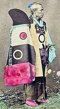 Samurai with a kaji zukin and shikoro (fire hood and cape), a samurai fire costume.