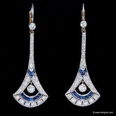 Art Deco Gold Platinum Earrings