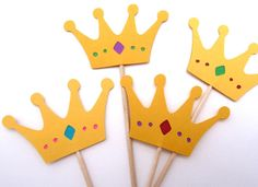 12 Crown Toothpicks, Princess and Prince, Gender Reveal, Baby Shower Cupcake Toppers, Girl Birthday Party, Red Green Purple Blue, Paper - http://babyshowercupcake-toppers.com/12-crown-toothpicks-princess-and-prince-gender-reveal-baby-shower-cupcake-toppers-girl-birthday-party-red-green-purple-blue-paper/