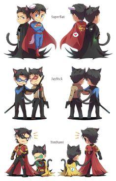 Last one isn't my ship but this is two cute not to post Superman X Batman, Batman Robin, Superhero Family, Bat Family, Nightwing, Robin Dc, Univers Dc, Bat Boys, Cute Comics