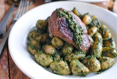 Steak with Pesto Gnocchi - a new take on meat and potatoes!
