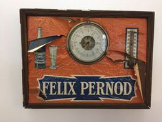 Vintage 30's French Felix Pernod Advertising Sign barometer thermometer art deco