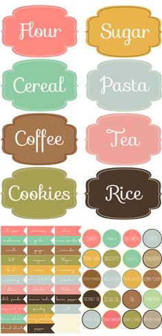 DIY Free Printable Labels & Projects DIY Label Projects and Free Printables Pantry Labels, Spice Labels, Kitchen Labels, Food Labels, Closet Labels, Jar Labels, Kitchen Pantry, Vintage Labels, Decorating On A Budget