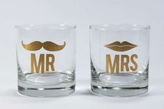 Adorable Alcohol Sippers - The 'Mr. and Mrs Cocktail Glass Set' is Made for Romantic Evenings