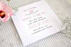 Rose printed wedding invitation