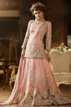 Peach Silver Embroidered and Stone Work Heavy Party Wear Anarkali Suit on Net Fabric  #peach #lehenga #gebastore #sybella