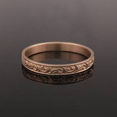 A unique Moroccan style solid 14K / 18K rose gold wedding ring, for men or women. Sometimes fairytales do come true. This rose gold antique-style wedding band has an elaborate pattern of delicate scrolls all around it.Boho wedding ring, Rose gold wedding ring, Woman wedding ring, Unique wedding band, Vintage style wedding ring, Pattern Wedding Ring, 18k #rosegold #weddingband