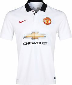 - Manchester United FC 2014/15 Away Kit - Solid white with black collar and white buttons. Nike. Premier League.