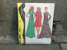 70's McCall's 3377 Pattern Misses' Dress or Robe by ElkHugsVintage