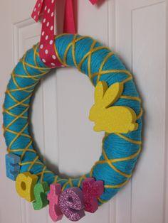 Easter Wreath- Easter Yarn Wreath- Easter Home Decor. $20.00