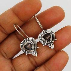 smoky quartz earrings silver 925 sterling jewelry natural gemstone handmade 6g