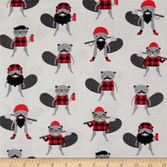 Kaufman Burly Beavers Collage Steel from @fabricdotcom  Designed by Andie Hanna for Robert Kaufman Fabrics, this fabric is perfect for quilting, apparel, and home décor accents. Colors include black, shades of grey, white and red.