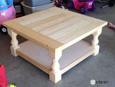 DIY square wood coffee table.