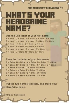 Fun Minecraft Challenge No3 - What's Your Herobrine Name Game. #minecraft #funminecraftchallenge #Herobrine