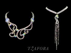 """Girl from Ipanema"" - Swarovski ballroom necklace. Ballroom jewelry, ballroom accessories. www.tzafora.com Copyright © Tzafora Handmade in Canada."