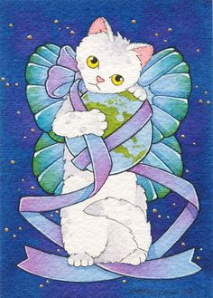 Give Peace a Chance by B. Mousseau, 2008. #art #cute #cats #earth