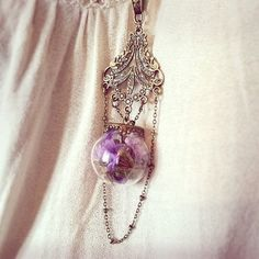 Hey, I found this really awesome Etsy listing at https://www.etsy.com/listing/210401851/terrarium-bottle-necklace-dried-purple